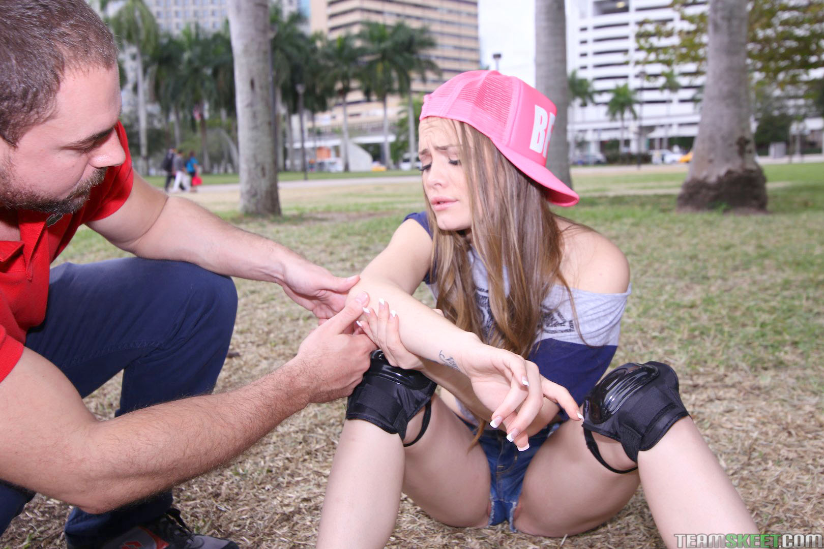 super cute teen babe monica rise falls down in park gets taken home